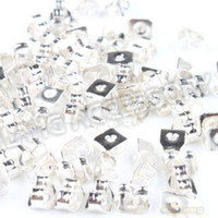 Wholesale Earring Findings Charms - Wholesale - 3000pcs lot New Style Silver Plated Iron Earring Back Stoppers Charms Finding Making 5*4*3mm 160879