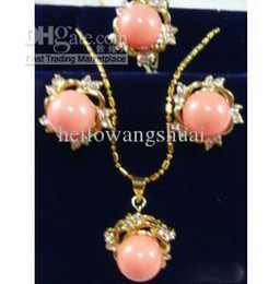 Wholesale gold coral rings - Pink Coral Crystal Flower Pendant Necklace Earring Ring   Gemstone Jewelry Sets