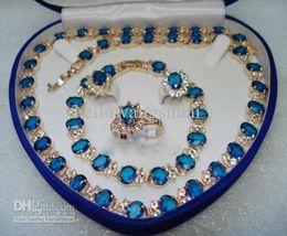 Colar de pulseira de safira azul on-line-Venda Por Atacado pedra azul safira conjunto colar pulseira brincos anel