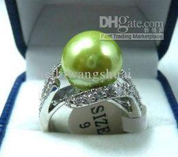 Wholesale Beautiful Shells - wholesale Beautiful green fresh shell pearl woman's ring 7#8#9#