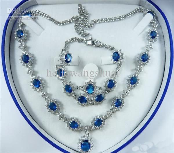 Sapphire Zircon Crystal Necklace Bracelet Earrings Ring / Gemstone Jewelry Sets