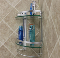 Wholesale Bathroom Corner Glass Shelf - Free shipping aluminum 2 tier glass shelf corner shower holder bathroom accessories shelves for storage