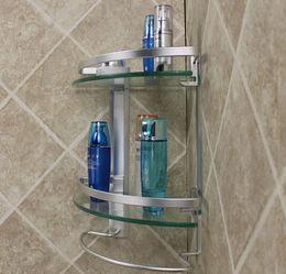 Wholesale Bathroom Accessories Glass Shelf - Free shipping aluminum 2 tier glass shelf corner shower holder bathroom accessories shelves for storage