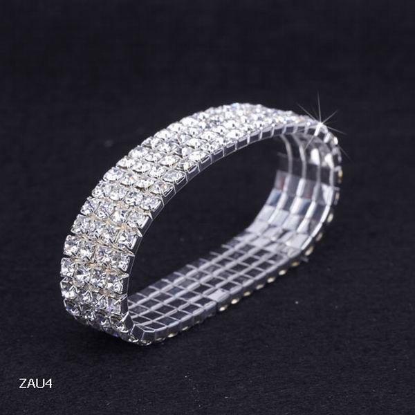 Women Girl Rhinestone Crystal Bracelets Elastic Stretch Wedding Bridal Jewelry Bangle Hand Chain Style Choose ZAU*5