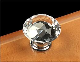 Wholesale Modern Fashion K9 Crystal - 10Pcs Modern Fashion K9 Clear Crystal Glass Chrome Cabinet Drawer Knobs New (Diameter: 30MM)