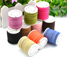 Wholesale Wholesale Suede Necklaces - Free shipping 10 Rolls 3mm Jewelry DIY Multi-colors Korean Suede Cord (3 meters roll), Necklace & Bracelet Cord Jewelry Findings