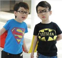 Wholesale Boys Short Sleeve Superman Top - Wholesale - boys short sleeve t shirt Children superman batman tops Kids Summer fashion garment lcagmy
