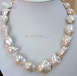 "Wholesale Yellow Gold Chain 22 - Wholesale - HUGE 18""22-28MM NATURAL SEA BAROQUE WHITE PEARL NECKLACE 14k"