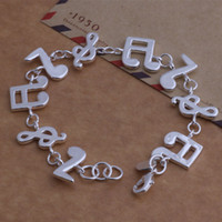 Wholesale Pretty Tops - Top quality Free Shipping Women 925 Sterling Silver pretty cute fashion jewelry lovely Music Note bracelet best gift H242