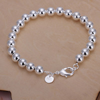 Wholesale 925 Buddha Wholesale - New fashion 925 sterling silver 8mm ball chain bracelets jewelry 925 silver ball bracelets Buddha beads bracelets good gift free ship