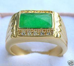 Wholesale Green Jade Gold Rings - Wholesale cheap Rare Charming Jade Green Men's Ring
