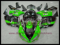 Wholesale Gloss Black Kawasaki Zx6r Fairings - Hi-grade fairings 7gifts gloss black green fairings body for KAWASAKI ZX6R 05 06 636 ZX636 05-06 ZX 6R 2005 2006 fairing kit & windscre