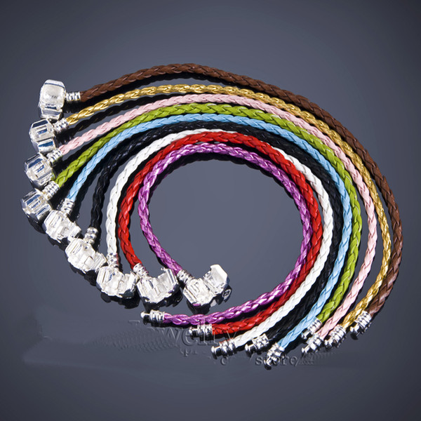 best selling 100pcs 925 Silver Braided Leather Bracelet Fit European Beads Bracelets New fashion Mix Color Free shipping factory price