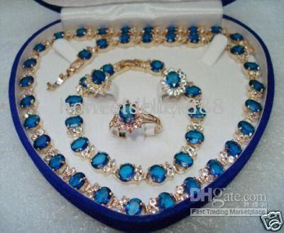 Оптовая дешевые 18kt желтого золота Сапфир ожерелье браслет серьги кольцо набор