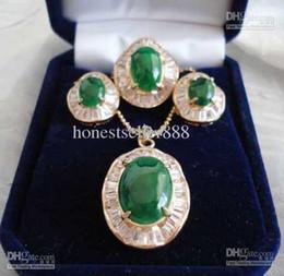 Wholesale Jade Engagement Ring Gold - New green jade Crystal pendants   earring   rings set