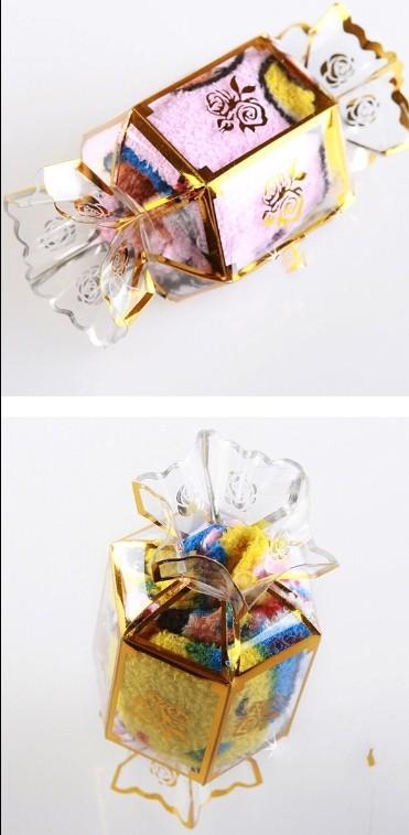Toalla de la torta de la linterna caramelo 100% toalla de algodón Favores de la boda lindo color de la mezcla 20x20com