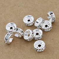 Wholesale Silver Plated Round Rhinestones Beads - Free shipping Fashion HOT DIY 1000pcs lot 7mm Silver plated White ( B Rhinestone ) Crystal spacer Beads Jewelry Findings