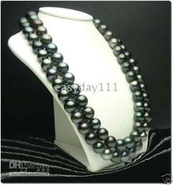 """36 """"Collana di perle nere tahitiane naturali da 10-11mm 14 kt da ciondolo giada asiatico fornitori"""