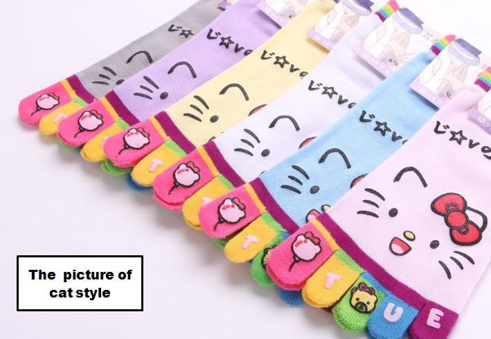 Оптовая новый творческий мультфильм toe носки, короткие носки, 36 пар / лот
