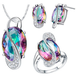 Wholesale Earring Necklace Ring Gold - 18K white gold plated Silver Jewelry Set Wedding Love Oval Blue Red Purple Stone CZ Zircon Ring Necklace Earrings Finely Cut