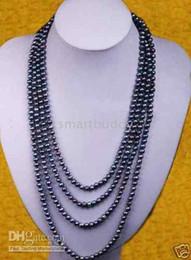Auténticas perlas negras de tahiti online-Joyería de perlas finas genuinas Impresionante PERLAS TAHITIAN NEGRO 7-8mm COLLAR 100''14k