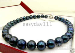 Wholesale 14k Yellow Gold Chain 18 - classic 18''10-11MM AAA+TAHITIAN BLACK PEARL NECKLACE 14k