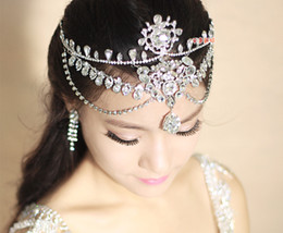 Fasce coreane di tiara online-Fascia per capelli di cristallo Accessori per capelli da sposa Corona brillante da sposa Strass di lusso Frontlet Strass Sopracciglia Pneumatico stile coreano