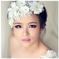 Wholesale Necklace Frontlet - New Fashion Wedding Hair Accessories Korean Style Bride Lace Flower Tire Frontlet Pearl Add Hand-making Necklace Earrings