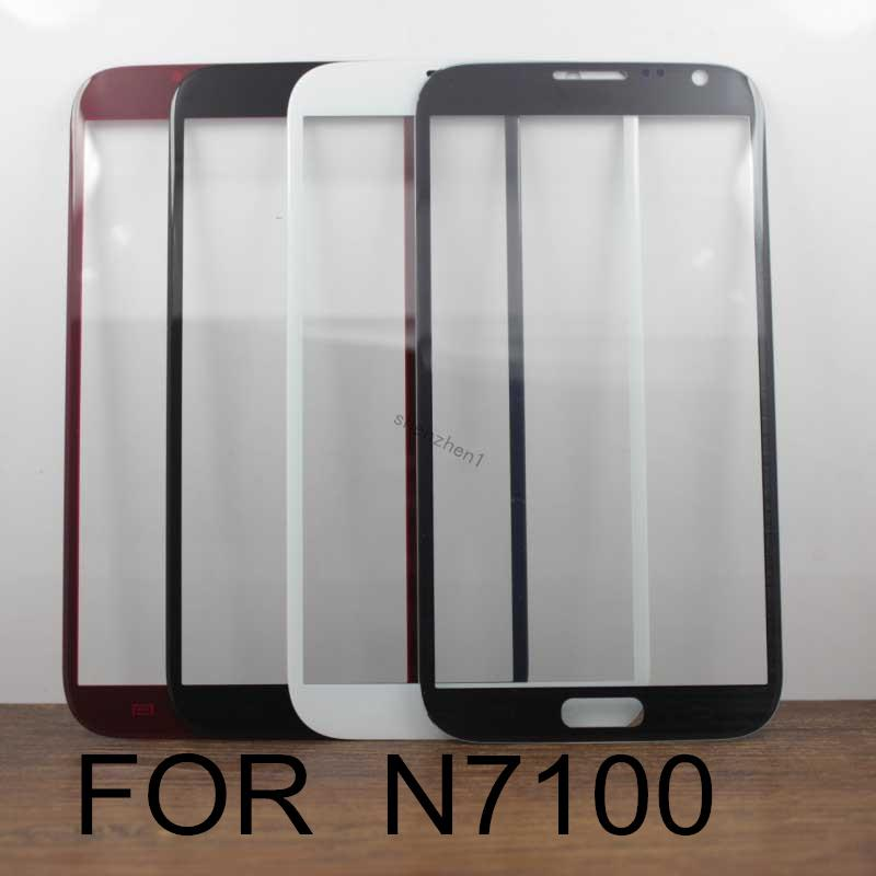 White and Black Front Screen Outer Glass Lens For Samsung Galaxy Note II 2 N7100 Touch Screen LCD Cover without Flex Cable