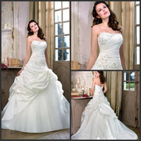 Wholesale Strapless Glamour Wedding Dresses - Best Selling 2016 Glamour A-line Lace Up Ruffles Satin Ivory Wedding Dresses Beautiful Flare Bridal Gown Divid8318