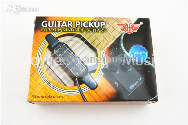 QH-6A Acoustic Guitar Pickup Wire Amplifier Högtalare + Volym / Tonstyrning Ljudhål Pickup