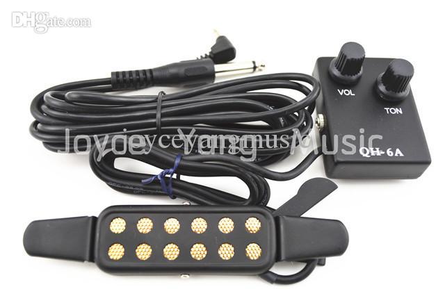 QH-6Aアコースティックギターピックアップワイヤアンプスピーカー+音量/トーンコントロールサウンドホールピックアップ