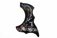 Wholesale Hummingbird Guitars - Hummingbird Flower&Bird Pattern Acoustic Guitar Pickguard Black Peel and Stick Adhesive Back Guitar Necessities Free Shipping Wholesales