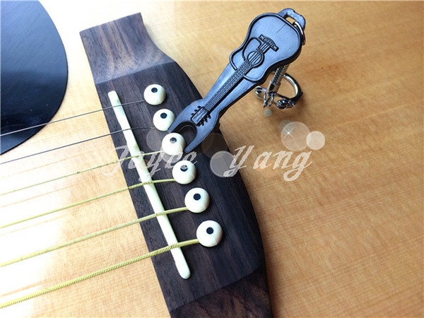 best selling Black Mini Guitar Bridge Pins Puller Keychain Guitar Key Ring For Acoustic Guitar Free Shipping