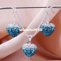 Wholesale Shamballa Heart Gradient 925 Silver - New Arrivel Fashion Ocean Blue Gradient Heart Earrings Necklace Shamballa set 925 sterling silver High Quality JEWELLRY SET YZ16