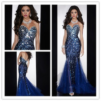 Wholesale Cheap Nude Dresses Crystals - Cheap Mermaid Sweetheart Open Back Crystals Beaded Sequined Diamond Organza Prom Gown Royal Blue Evening Dresses with Crystal