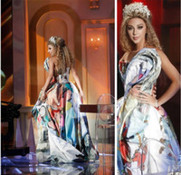 painted floors pictures - 2015 Beautiful Myriam Fares Celebrity Dresses A Line Strapless Backless Pleat Print Paint Floor Length Prom Gowns