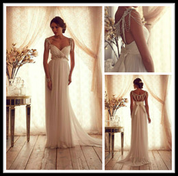 Wholesale Stylish Bridal Dresses - Stylish 2014 Anna Campbell Vintage Wedding Dresses Sweetheart Sheer Sheath Lace Crystal Sweep Train Chiffon Beach Bridal Gowns Hollow
