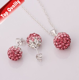Wholesale Pink Disco Ball Earring Studs - Shamballa Necklace Sterling Silver Stud Earrings Set Gradient Crystal Ball FREE SHIPPING WHOLESALE HOT PINK DISCO