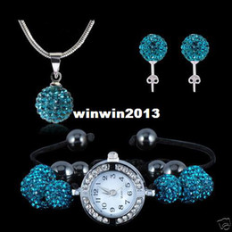 Wholesale Shamballa Necklace Watch - HIigh Quality Shamballa Turquoise Crystal Watch Necklace & Earring Set JEWELLRY SET FREE SHIPPING WHOLESALE