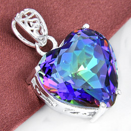 Wholesale Wholesale Ruby Pendant - 2015 Limited New Ruby Jewelry Colares Gemstone Jewelry Pendant 925 Sterling Silver Gemstone Mystic Topaz Heart Pendant free Shipping P0905