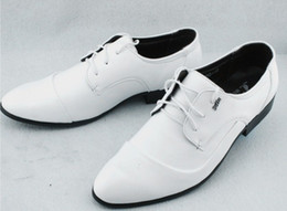 Wholesale Groom Wedding Shoes White - Most popular white pu leather lace-up cusp shoes men's business casual shoes groom wedding shoes huihui2014