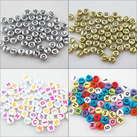 Perles Plates Acryliques 7mm Pas Cher-Chaud! 500pcs Round Flat Acrylique Letter Spacer Beads Charms Jewelry Craft DIY 7mm