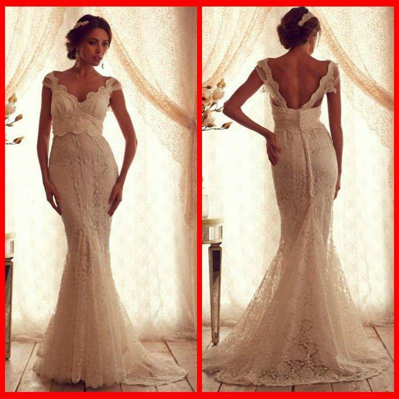 Anna Campbell Wedding Gowns: 2014 Anna Campbell Vestido De Noiva Lace Wedding Dresses V