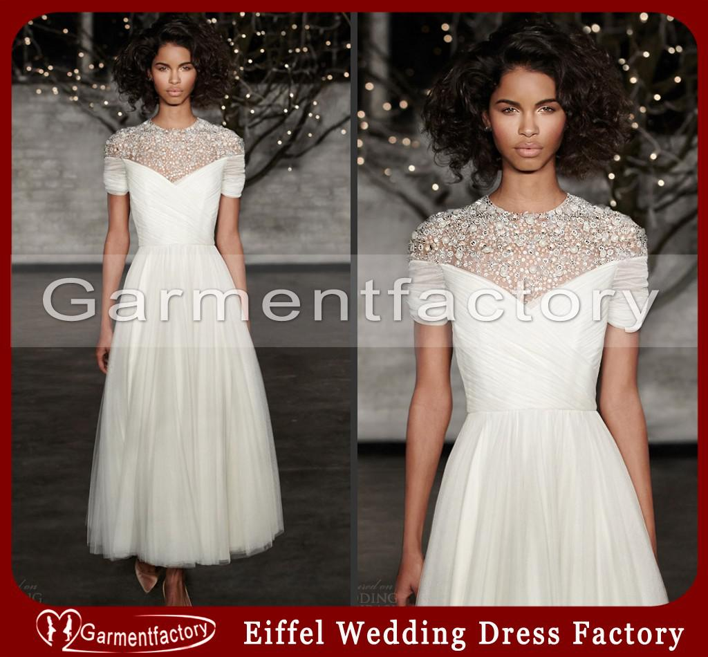 Discount jenny packham wedding dresses 2014 new style high neck discount jenny packham wedding dresses 2014 new style high neck beaded sheer top a line tea length informal bridal gowns simple lace wedding dresses the junglespirit Choice Image