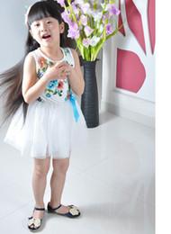 Wholesale Short Pleated Plaid Skirt - New summer girls flower dresses Country style flower vest tutu dress Girls Children flower Princess Lace Skirt Children dresses 9Colors