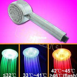 Wholesale Hand Shower Led Light - 10pcs Lot Hot selling Temperature Control Romantic Light Bathroom LED 3 Colors Hand Shower Head Wholesale1369