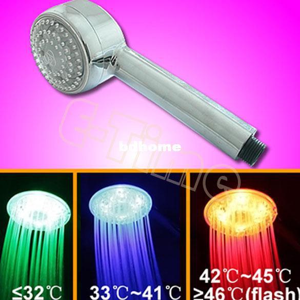 best selling 10pcs Lot Hot selling Temperature Control Romantic Light Bathroom LED 3 Colors Hand Shower Head Wholesale1369