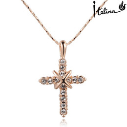 Wholesale Rhodium Plated Jewerly - New Arrival Genuine Austrian Crystal Cross NECKLACE Free shipping With Swarovski Crystal Stellux #RG70231 dress and party jewerly