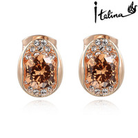 Wholesale Italina Rigant Flower - Italina Rigant New Arrival Austria Crystal Stud Earring With Swarovski Crystal Stellux Cubic Zirconia Dont Fade #RG86483